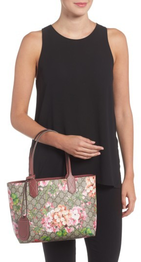 fb3a9964237 Gucci Small Gg Blooms Reversible Canvas   Leather Tote – Beige ...
